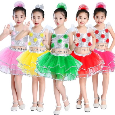 Children jazz dance costumes colored school competition modern dance singers chorus princess stage performance dresses