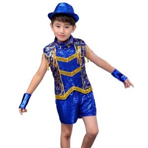 Children jazz dance costumes royal blue paillette boys girls  drummer modern dance school stage performance hiphop street dancing tops and shorts