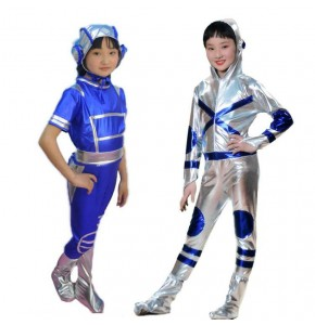 Children jazz modern dance costumes boys girls  silver royal blue robot dance astronaut space show cosplay dance costumes outfits