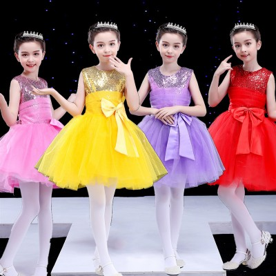 Children jazz princess ballet dresses modern dance girls kindergarten host singers choral host dresses