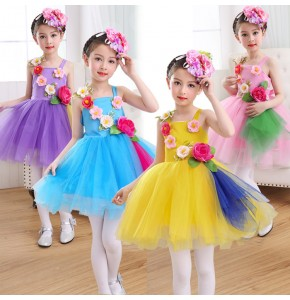 Children jazz singers chorus singers stage performance princess dresses pink purple blue rose flowers girls competition model show dance dresses