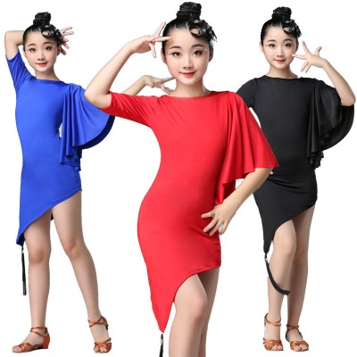 Children Latin Dance Dress Swing Dance Dress Fringed Tango Salsa Ballroom Kids Dresses for Girls Costume Competition