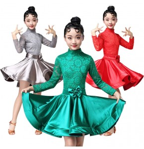 Children latin dance dresses girls professional stage performance lace competition rumba samba salsa chacha dance skirts dresses