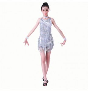 Children latin dance dresses silver pink color stage performance competition pailltte fringes modern dance jazz group dancers costumes dresses