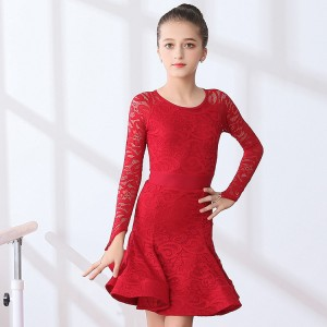 Children latin dancing dresses robe latine red lace long sleeves competition professional samba salsa stage performance dancing costumes
