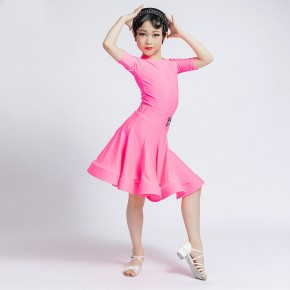 Children light purple pink red Latin Dance Skirt competition short sleeves latin dance dresses girls grade examination ballroom dance dresses