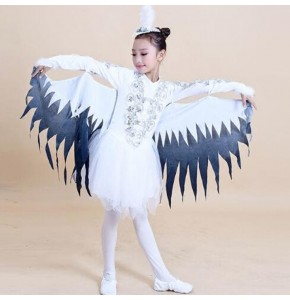 Children Modern Dance Costumes Dance Animal Characters Costumes Halloween Birds Clothing Sparrows Magpie Performance clothing
