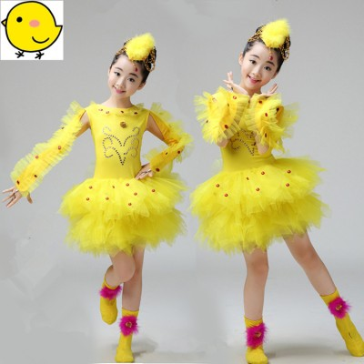 Children modern dance costumes stage performance school competition cartoon birds chicken cosplay photos cosplay outfits dress