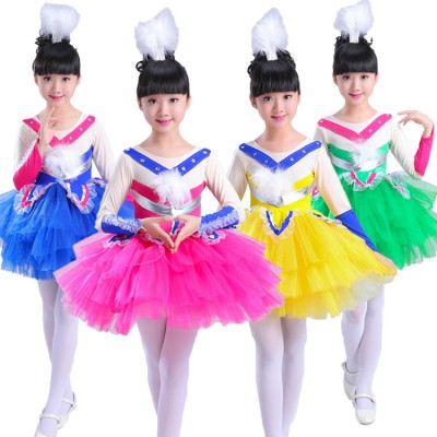 Children modern dance dress colorful singers drama stage performance cartoon birds cosplay costumes outfits