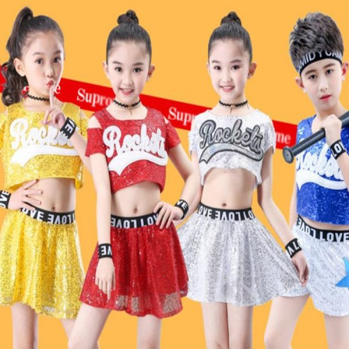 Children modern dance jazz singers chorus street hiphop dance costumes girls boys cheerleaders sequin show competition outfits