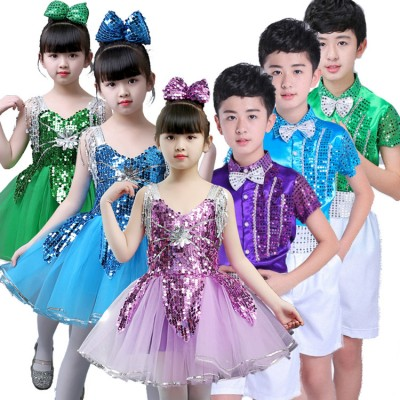Children modern dance outfits for boys girls  jazz singer chorus school competition stage performance costumes dresses
