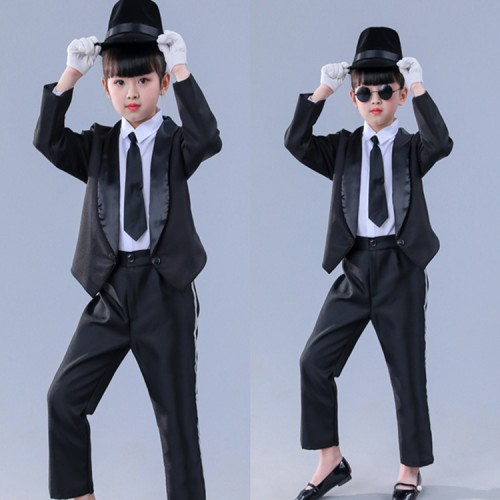 Children modern street dance stage performance jazz dance outfits boys girls school black colored group dancers hiphop dancing costumes