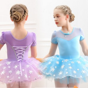 children pink blue violet ballet dance clothes girls tutu skirts cotton short-sleeved girls puffy ballet skirt girls princess ballet dance costumes