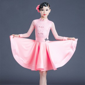 Children pink red lace Latin dance dresses girls professional competition latin dance skrits  regulations national standard latin dance clothing