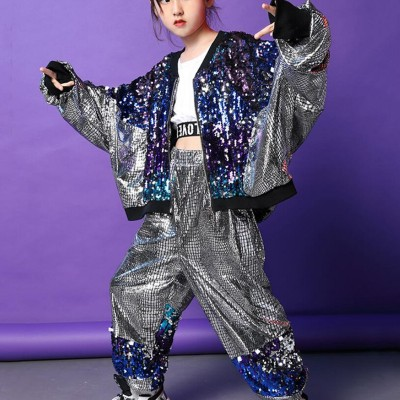 Children sequin jazz street dance hiphop dance costumes drummer  singers dancers stage performance model show competition jacket and pants