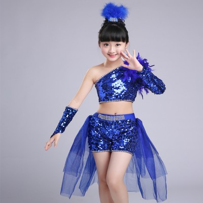 Children Sequined Feather royal blue red Modern Jazz Dance Costumes For Girls  Dress Competition Hip Hop Dance Costumes Kids