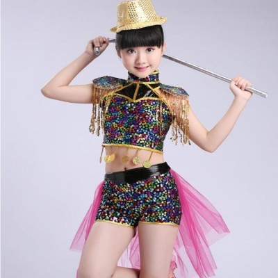Children Sequined Jazz Dancing Tops Pants Girls Ballroom Dance Competition kids Modern Hip Hop Stage Dancing costumes