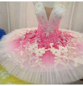 Children swan lake competition ballet dresses pink color ballerina tutu platter pancake skirt stage performance dancing costumes