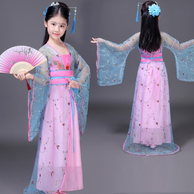 Children traditional Chinese folk dance costumes fairy drama princess tang dynasty hanfu kimono cosplay stage performance dresses robes