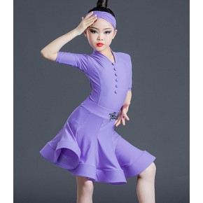 Children violet purple Latin dance costumes girls professional  Latin dance dress competition latin dance uniforms V-neck split standard skirts
