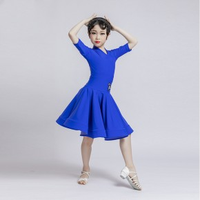 Children violet royal blue red latin dance skirt competition girls short sleeves latin dance dress children standard examination competition dress