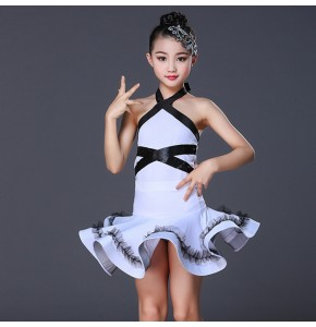 Children white color latin dance dress costumes modern dance chacha salsa rumba dance dress costumes