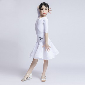 Children white coral color Latin dance clothes girls Latin competition dresses grade examination fishbone latin dance skirt