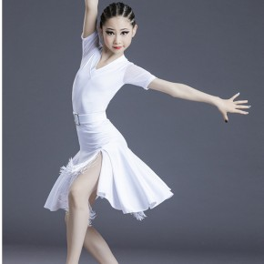 Children white red black latin dance costumes girls latin practice skirts Short-sleeved chacha rumba dance dress Latin competition costumes