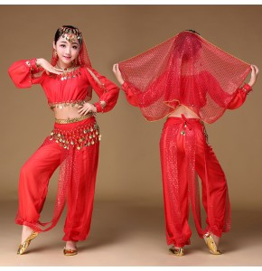 Children's Adult Indian queen belly dance costumes red yellow pink oriental dance performance girls belly dance dresses