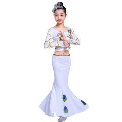 Children's Belly Dance Costumes chinese folk Dai Dance Costumes Peacock Dance Dress Girls Children's Art Test Fishtail cosplay Skirts