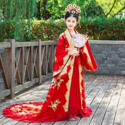 Children's Chinese ancient queen trailing dresses fairy cosplay hanfu Princess palace ancient clothes model stage show performance robes costumes