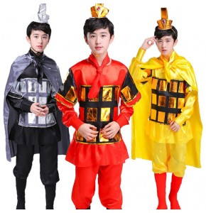 Children's Chinese ancient soldiers warrior costumes boys armor drama cosplay performance clothing flower Mulan generals clothing