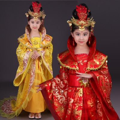 Children's Chinese ancient tang dynasty queen dresses  girls drama fairy Princess court ancient cosplay stage performance robes