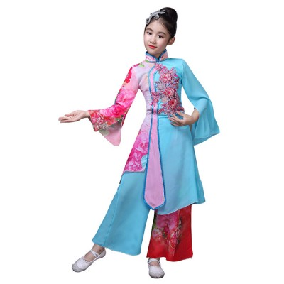 Children's Chinese classical dance costumes fairy photos princess cosplay robes china style ancient fan dance clothes girls Yangko clothing