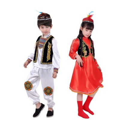 Children's Chinese folk dance minority stage performance costumes Kazakh kindergarten boys and girls dance clothes costumes