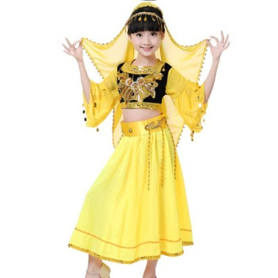 Children's Chinese folk dance  Xinjiang dance costume girls Uygur belly indian dance performance dress minority Indian dance performance clothing
