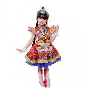 Children's Chinese Minority Costumes Mongolian Children's Tibetan Performance Costumes Tibetan Dance Costumes Riding Dance clothes