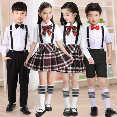 Children's Chorus singers bib costumes for boys girls plaid school competition uniforms poetry reading for kindergarten primary school performance outfits