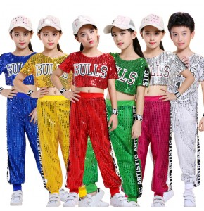 Children's girls boys modern dance paillette jazz street dance hip hop School competition exercises costumes cheerleading performance tops and pants