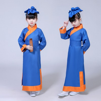 Children's Hanfu boys girls National Chinese ancient School student cosplay Books dress Children's Three Characters by Disciples Rules Costumes