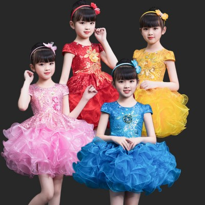 Children's jazz singers dance dress pettiskirt show costume sequins girls princess dress dance clothes modern dance gauze costumes