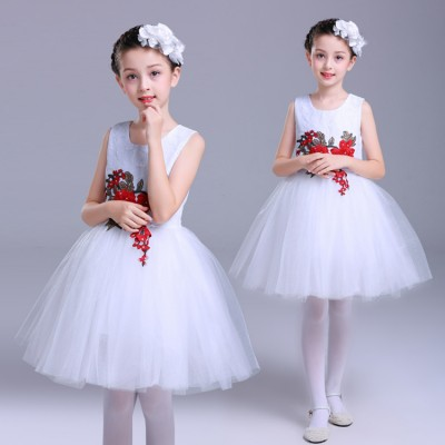 Children's jazz singers modern dance princess dresses white red  fairy fluffy gauze costumes kindergarten chorus performance clothing