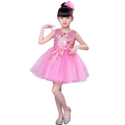 Children's  kindergarten princess singers host modern dance dress jazz dance cosplay costumes girls pettiskirt dance clothes sequined skirt performance clothing