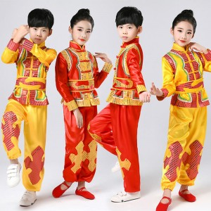 Children's martial arts performance Costume New Year's day Chinese knot Yangko costume waist drum costume dance performance Costume