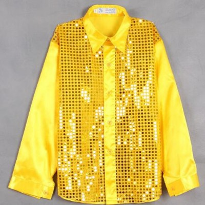 Children's show shirts kids modern dance sparkling sequins stage costumes dancing chorus shirt boys show
