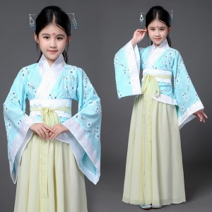 China Hanfu Chinese folk dance costumes for girls kids children stage performance drama fairy cosplay dancing robes dresses
