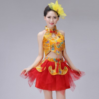 China style chinese folk dance dresses for women red blue gold dragon drummer fan yangko stage performance photos cosplay dresses