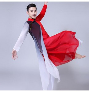 China style men's chinese folk dance costumes kungfu wushu black and red martial stage performance cosplay dancing tops and pants