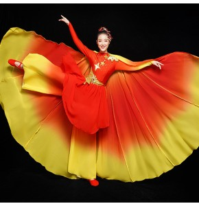 China style red with gold chinese folk dance costumes opening dance fairy dress women's ancient traditional classical dance dress