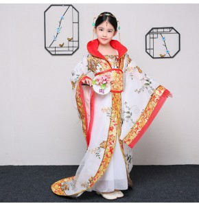 Chinese ancient folk dance costumes for girls white red  tang hanfu traditional fairy queen cosplay stage performance costumes robes